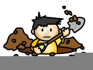 Dig clipart. Man digging a hole