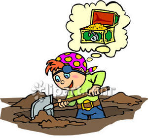 Digging for treasure . Dig clipart