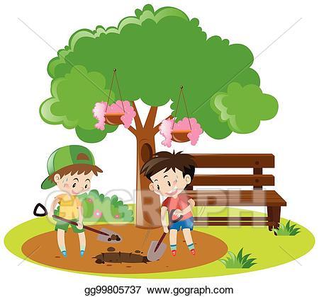 Hole clipart dig hole. Eps vector two boys