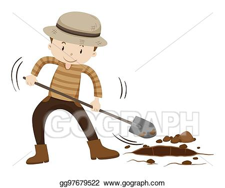 Vector stock farmer digging. Dig clipart ground hole