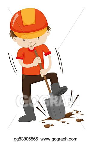 Vector stock man digging. Dig clipart ground hole