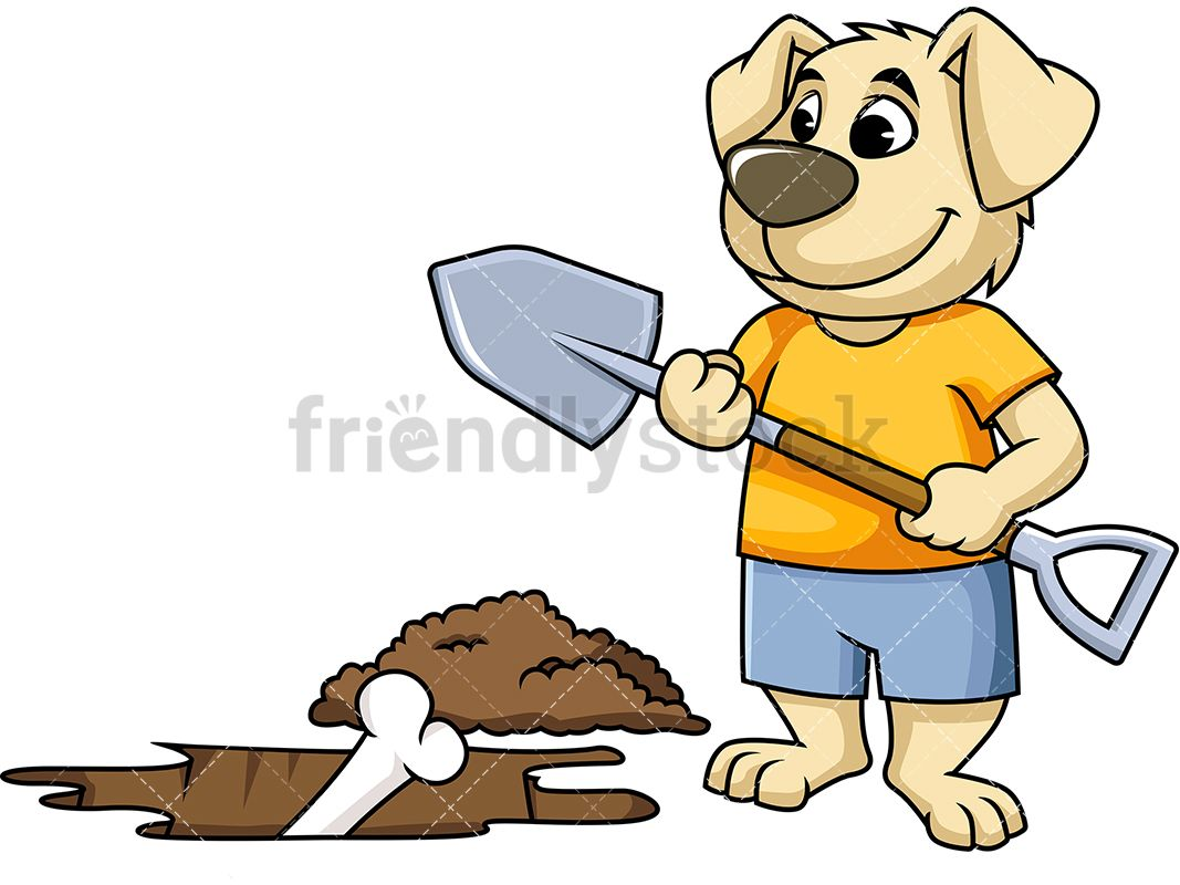 Dig clipart ground hole. Dog mascot character digging