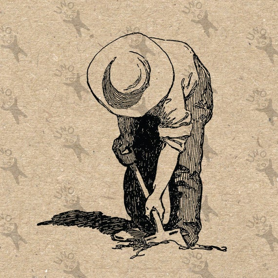 Vintage retro drawing image. Dig clipart old farmer