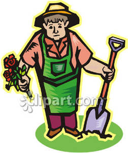 Gardening clipart garden work. Old woman working in