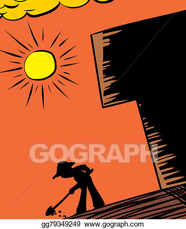 Drawing hot sun and. Dig clipart old gardener