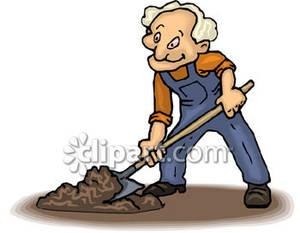 Man working in his. Dig clipart old gardener