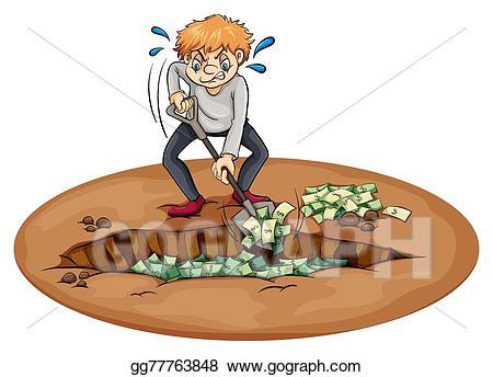 Vector illustration a man. Dig clipart pit