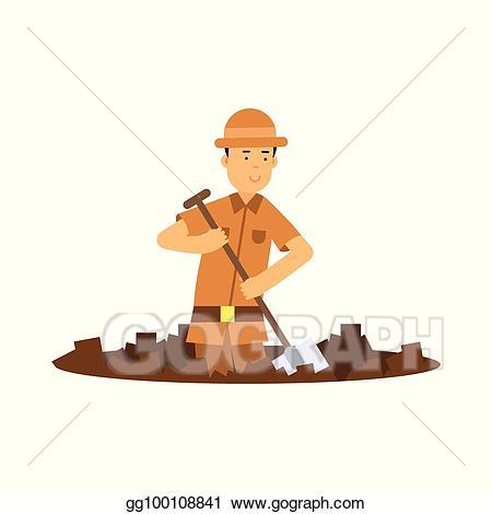 Dig clipart pit. Eps illustration boy archaeologist