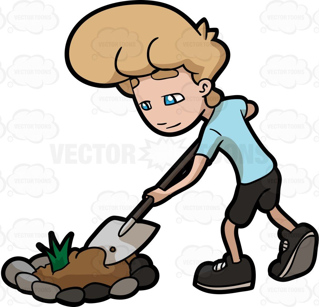 Dig plant tree free. Gardener clipart cultivation