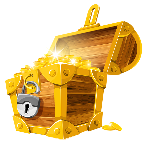 Treasure clipart golden. Gold coins chest png