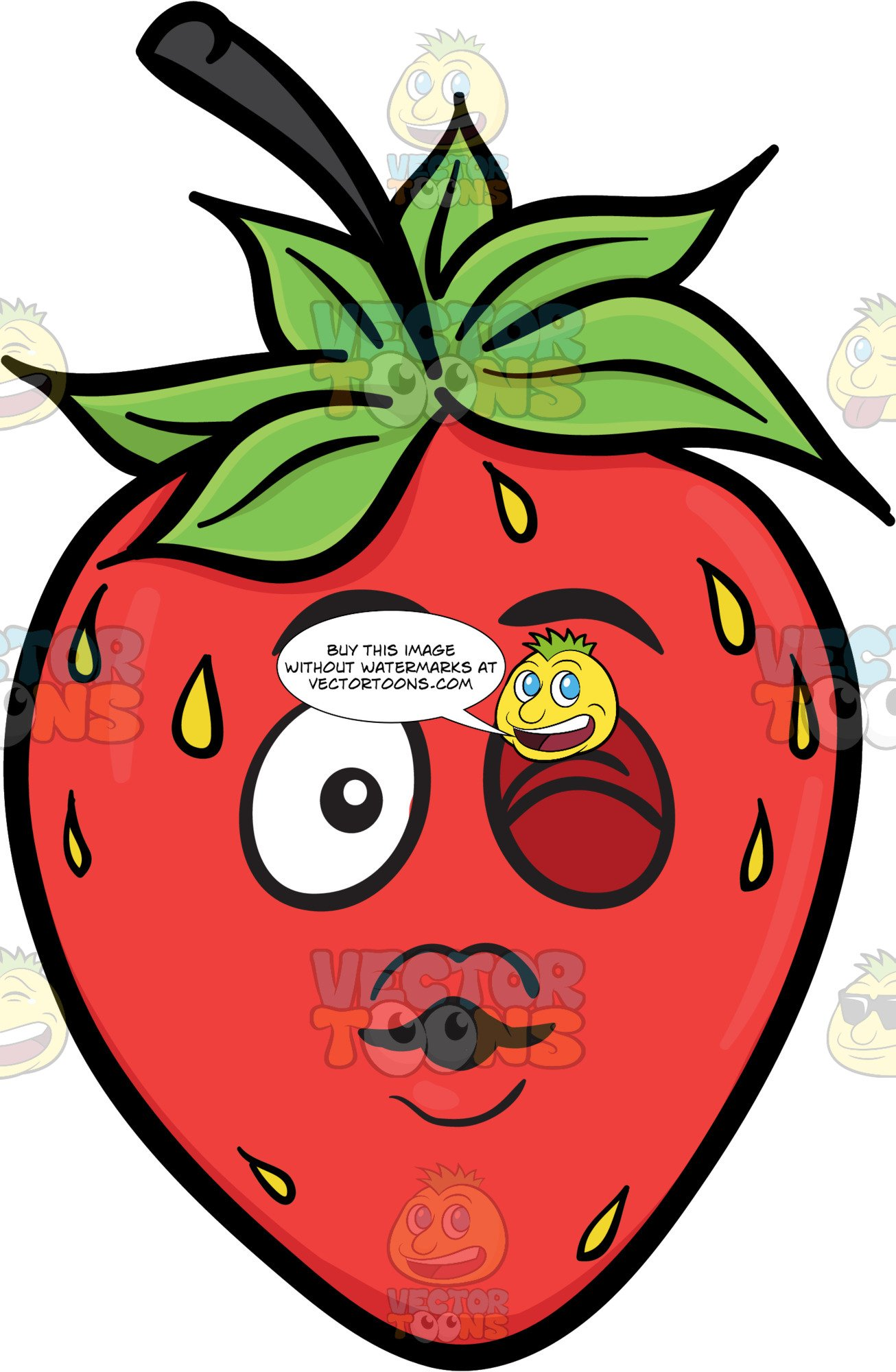 A winking strawberry fruit. Dig clipart wanton