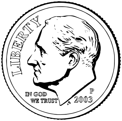Front money us currency. Dime clipart