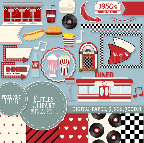 Diner clipart.  s set red