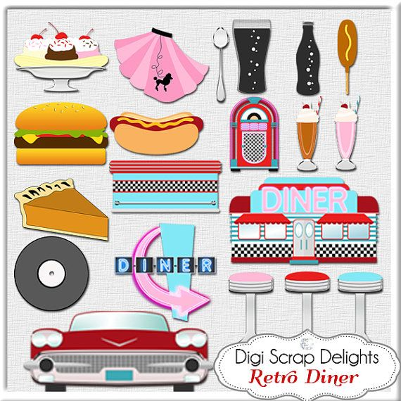 Retro s in red. Diner clipart 1950s car
