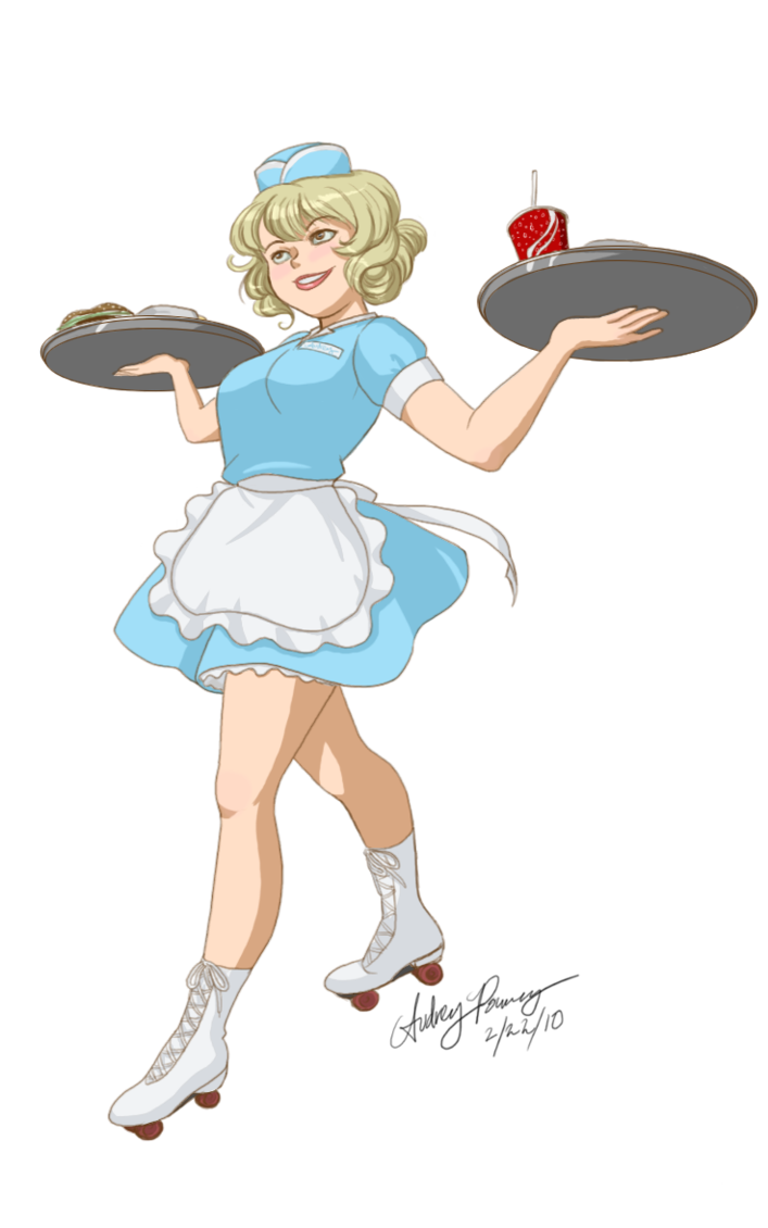 Diner clipart 1950s car. Carhop waitress by yunyin