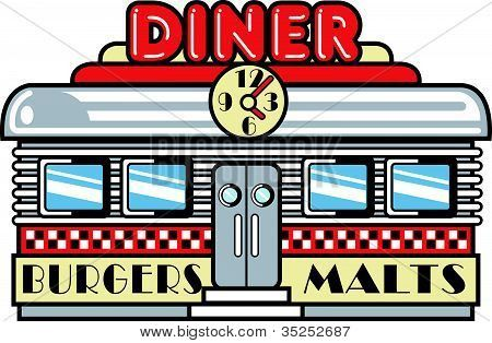 Retro clip art harmony. 50s clipart diner