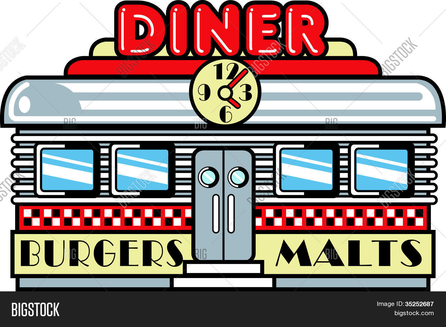 Diner clipart. Pencil and in color