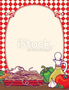 Italian border with lots. Italy clipart diner food