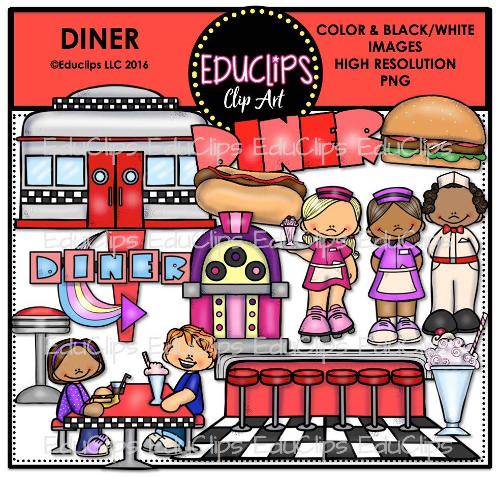 Diner clipart diner counter. Clip art bundle color