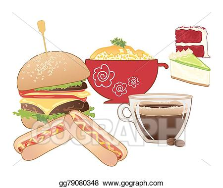 Diner clipart diner food. Vector art drawing gg