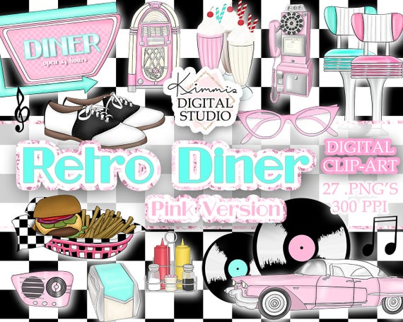Retro pink hand drawn. Diner clipart drive in diner