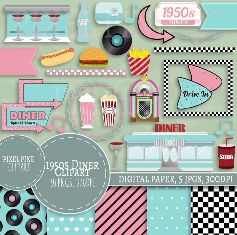 Diner clipart drive in diner. Fifties set pngs s
