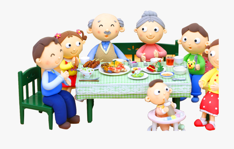 Eat dinner with cartoon. Feast clipart family dining