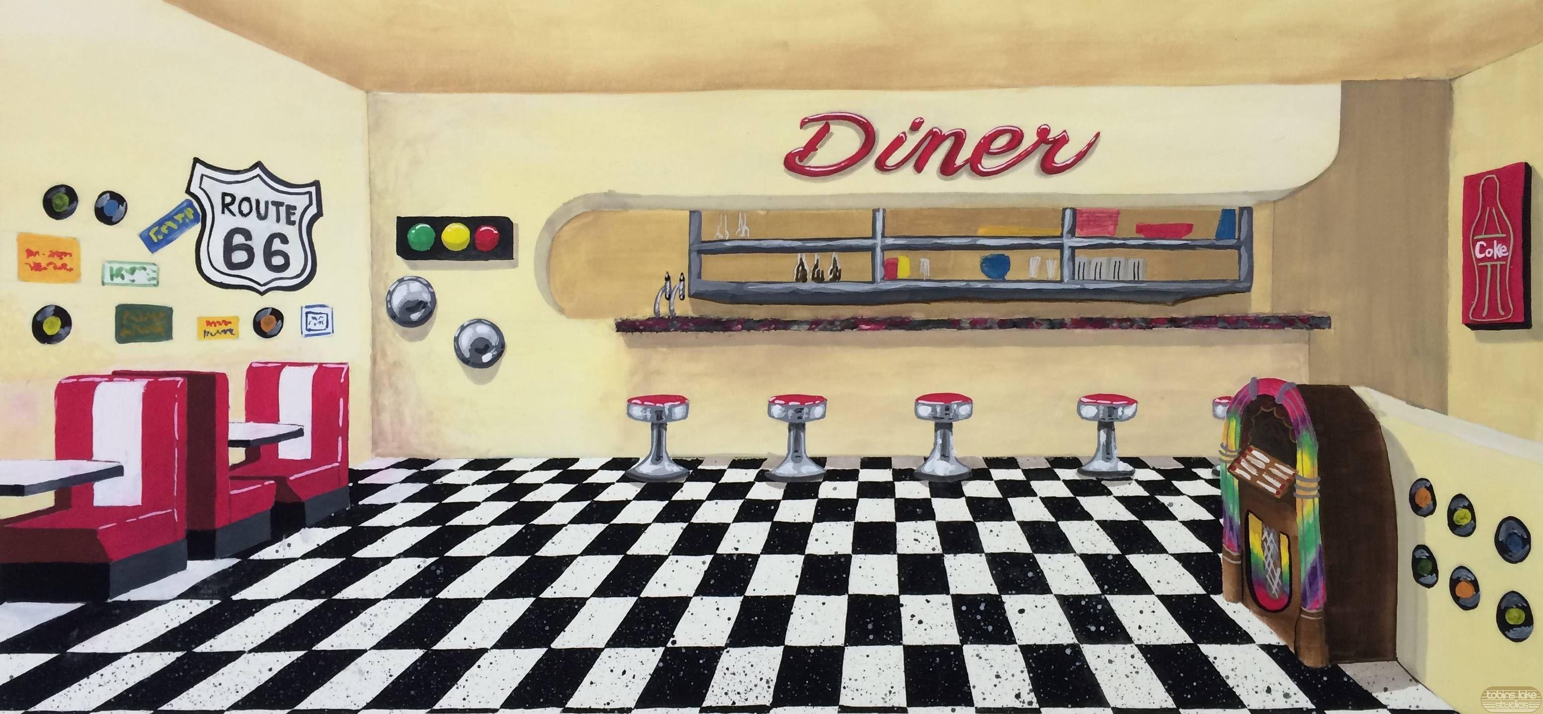 Fifties cream walls and. Diner clipart floor