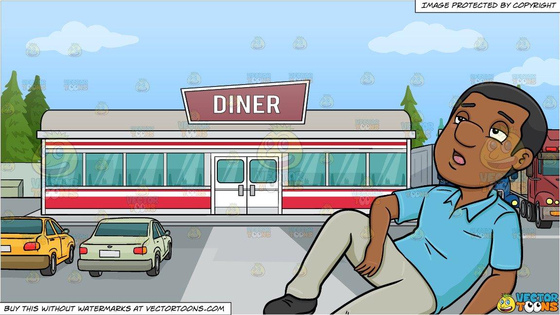 Diner clipart floor. A black man fainting