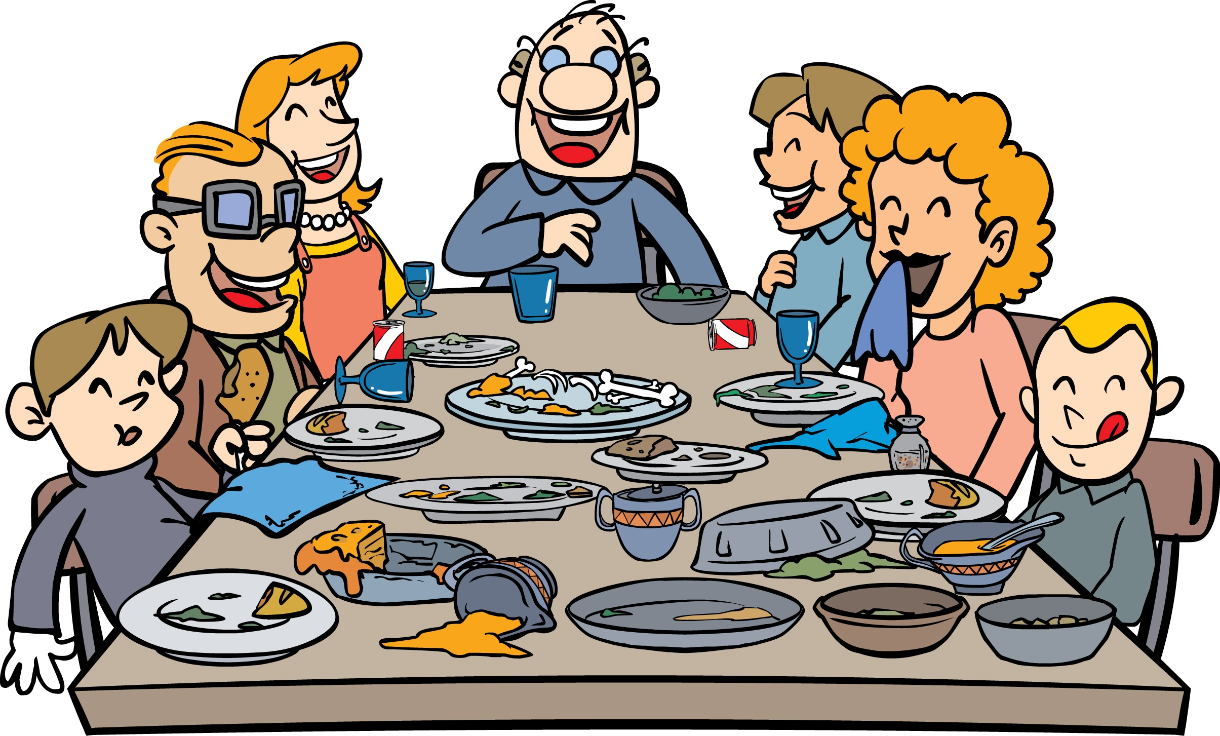 Feast clipart home cooked meal. Group dinner free download