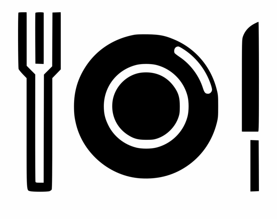 Plate fork knife food. Diner clipart hotel menu