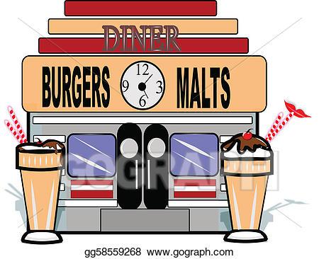Diner clipart malt shop. Vector stock retro background