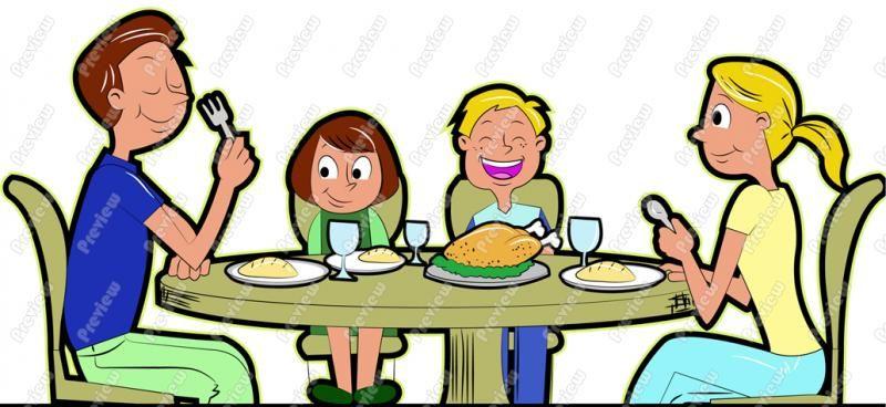 Free eating uno picnic. Dinner clipart family dinner