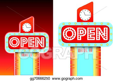 Vector stock open for. Diner clipart motel sign