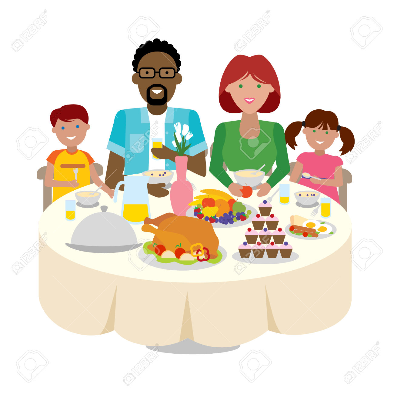 Dinner table free download. Feast clipart family dining