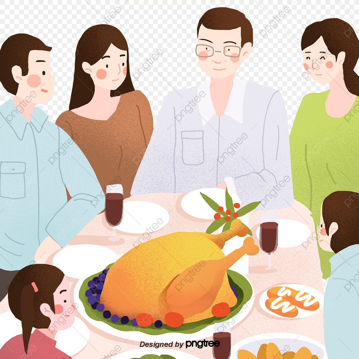 Dinner clipart big meal. Six members of a