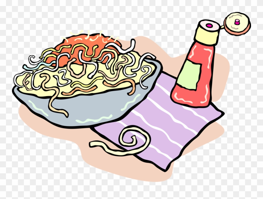 Dinner clipart bowl pasta. Royalty free spaghetti in