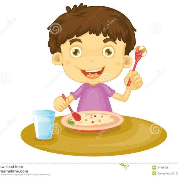 Dinner clipart boy. Eating regarding
