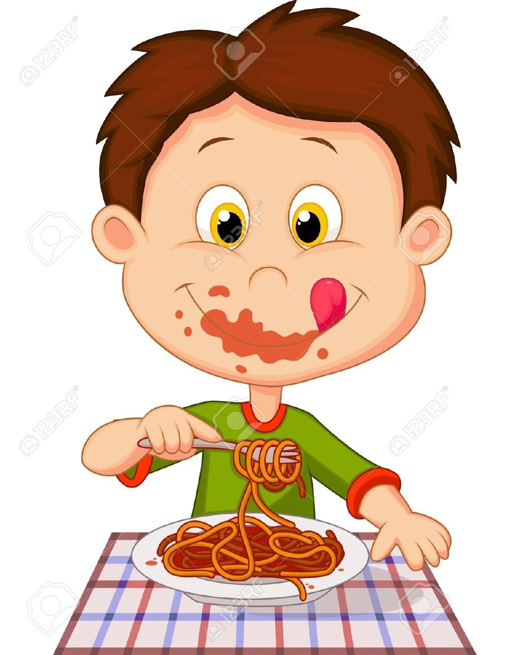 Eating writings and essays. Dinner clipart boy