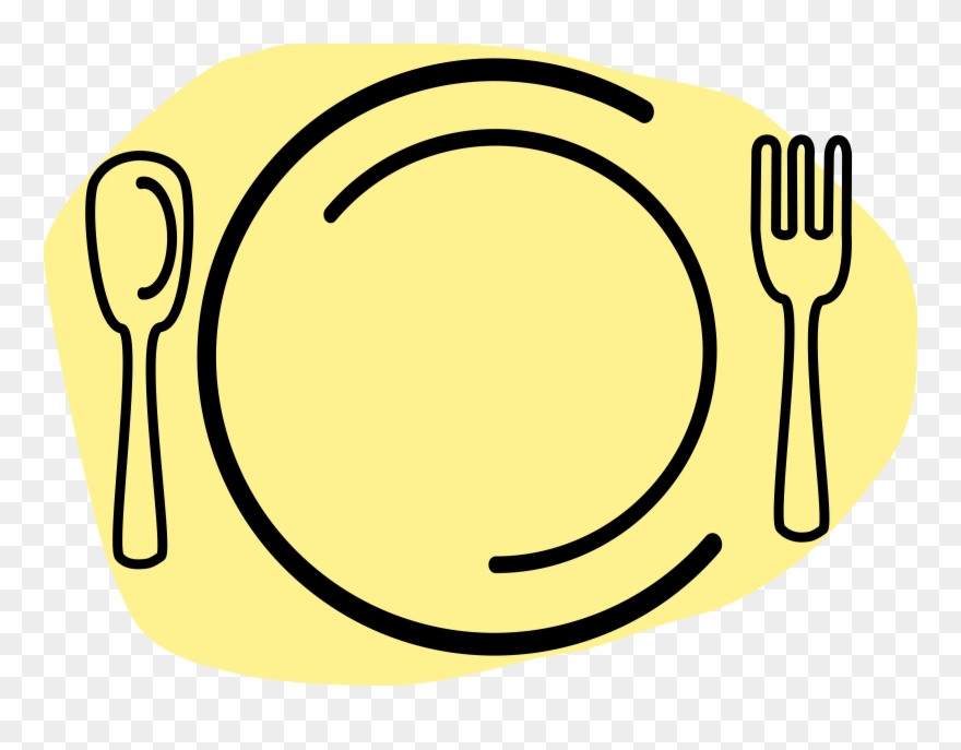 Pantry plate with spoon. Dinner clipart business dinner