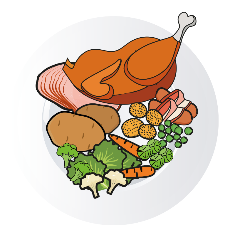 Dinner clipart cartoon. Ham plate free on