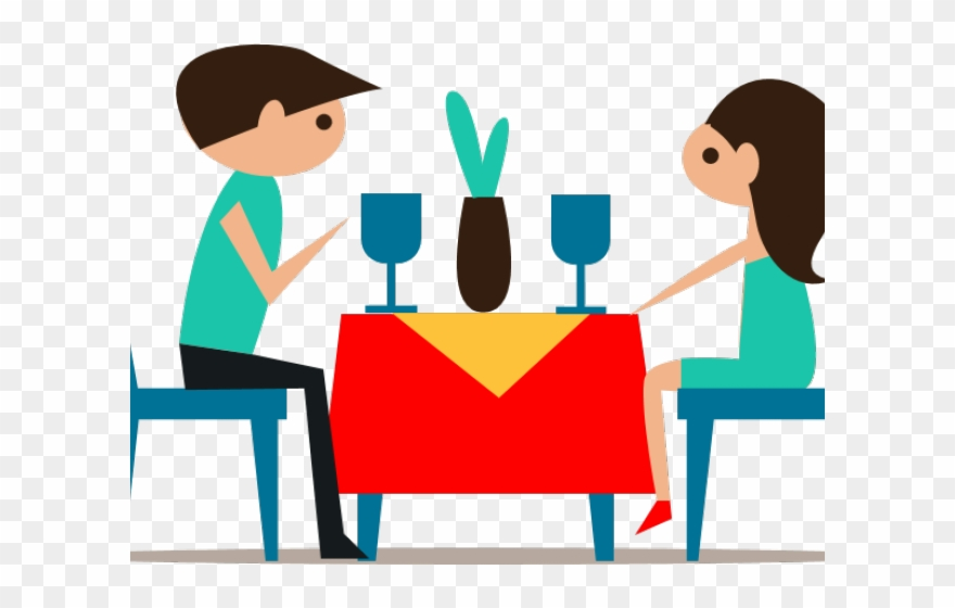 Dining table couple eating. Dinner clipart cartoon