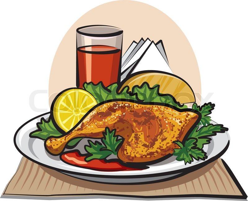 Dinner clipart chicken dish. Fried station