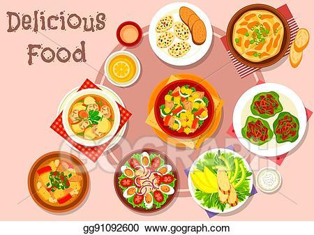 Clip art vector dishes. Dinner clipart chicken vegetable