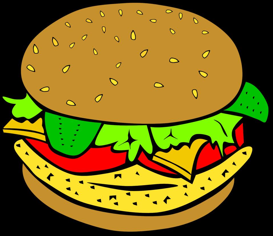 Hamburger clipart chicken burger. Public domain clip art