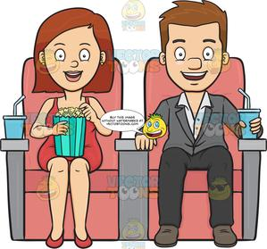 Movie clipart movie date. A couple enjoying after