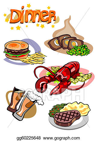 Vector art pictures drawing. Dinner clipart dinner menu