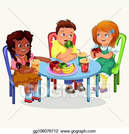Vector classmates having lunch. Meal clipart dining