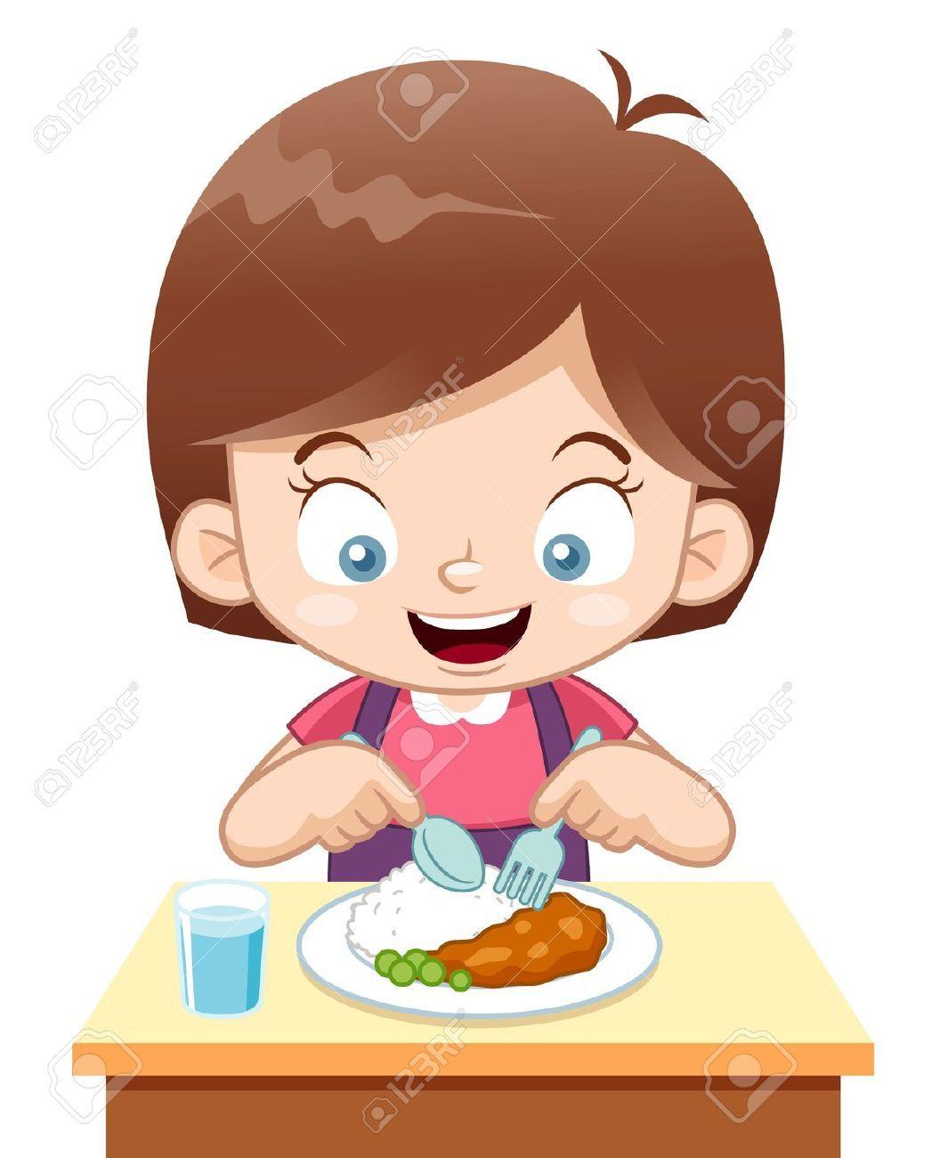 Girl eating chore board. Dinner clipart eats