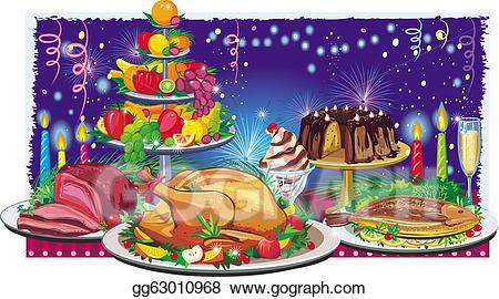 Dinner clipart holiday meal. Vector art drawing gg